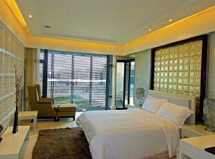 北京别墅装修设计——次卧 干净 整洁 简单 大方 舒适,165平,40万,欧式,三居,卧室,黑白,黄色,