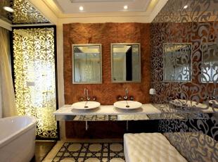 北京别墅装修设计——卫生间 干净 整洁,165平,40万,欧式,三居,卫生间,黑白,黄色,