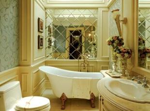 紫禁尚品国际装饰——卫生间 干净 整洁 用暖色的灯光来做为搭配欧式的家具,378平,68万,欧式,别墅,卫生间,黄色,白色,绿色,