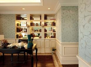 紫禁尚品国际装饰——书房 清新 淡雅的壁纸 深红色的地板 白色的书柜 温馨,378平,68万,欧式,别墅,书房,黑白,黄色,蓝色,红色,