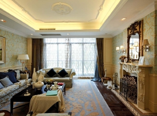 紫禁尚品国际装饰——客厅 温馨 舒适 上档次 用了比较清淡的颜色搭配 做为整个空间的舒适,378平,68万,欧式,别墅,客厅,黄色,黑白,蓝色,绿色,