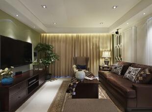 ,126平,17万,美式,三居,客厅,白色,