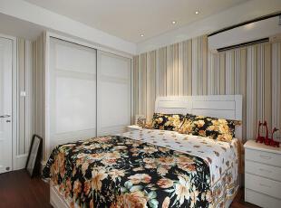 ,126平,17万,美式,三居,卧室,白色,