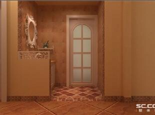 洗手台设计:洗手台小巧而精致,墙漆的颜色浅,为了不显得空间 单调,空间中放入较深颜色的瓷砖来点缀。,90平,8万,田园,两居,