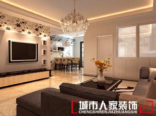 ,120平,8万,现代,三居,客厅,白色,
