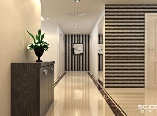玄关设计: 光影流转之玄关:室内大面积采用高度反光的淡黄色地砖,墙壁也是由带清浅石纹的大理石砖铺成,在光线的作用下愈加清透,整体给人的感觉淡雅而清新。黑色相框组建的照片墙在浅色墙壁上更显立体,下方置物架用不锈钢做支架,这种元素还被运用到吊顶灯池和壁灯。,90平,8万,现代,三居,玄关,白色,