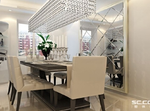 餐厅设计: 唯美餐厅:餐厅的空间讲究对称且划分简单合理,给了主人们更充裕的自由活动空间,菱形镜子搭配相框,从而放大整个空间,搭配绿植家庭氛围更加愉悦。,90平,8万,现代,三居,餐厅,白色,
