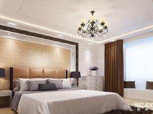 卧室设计: 梦中之境之卧室:卧室是主人的私密空间,主要以功能性和实用舒适为考虑的重点,采用温馨柔软的成套布艺来布置,阐释了一个安逸,宁静的休息空间。,90平,8万,现代,三居,卧室,白色,