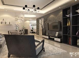 客厅设计: 黑白为主调之客厅:客厅高雅、大气、温馨为主基调,不要过多累赘复杂的造型,强调功能性设计。空间以黑白为主调,背景墙上简约的线条和顶上的直线造型让空间化为一体,能给人带来前卫、不受拘束的感觉。,90平,8万,现代,三居,客厅,黑白,