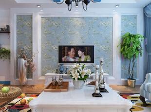 客厅设计: 浅设计理念:规则的背景墙,体现强烈的整体感,搭配独特的装饰品又不失轻松愉悦的气氛。亮点:浅蓝色壁纸加象牙白的环形石膏线条,点缀着绿色植物,整体感强烈,清新自由。,96平,8万,地中海,两居,客厅,白蓝,