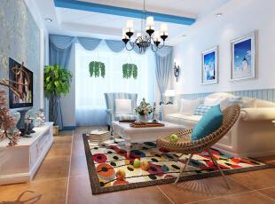 客厅设计: 设计理念:希腊白与蓝天大海的搭配,营造一种自由休闲的生活方式。亮点:深色的地面给人庄重的感觉,搭配浅色沙发,让人眼前一亮,蓝色纱帘加上纯白墙面还有条纹沙发与靠垫,纯净自由的主题演绎的淋漓尽致。,96平,8万,地中海,两居,客厅,白蓝,