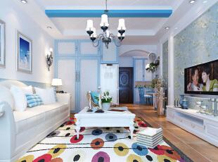 客厅设计: 设计理念:海洋的蔚蓝色为基调,搭配多种颜色极具梦幻色彩。亮点:回形顶的白充斥着条形的造型蓝,就连衣柜橱柜都是在白与蓝的环绕下,亲近自然。,96平,8万,地中海,两居,客厅,白蓝,
