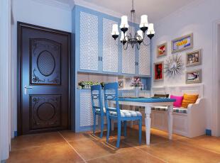 餐厅设计: 设计理念:白蓝相间的橱柜,延续地中海简约纯净风格,简约至上。亮点:厨柜的色彩能刺激人的食欲,使人心情愉悦,使枯燥的厨房操作过程变得生动有趣。,96平,8万,地中海,两居,餐厅,白蓝,