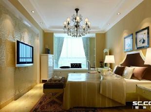 卧室设计: 舒适的卧室可以让人享受一场宁静的酣睡。为突出卧室柔美、温馨的特质。床品搭配古典花纹的简洁而又舒适,飘窗的装饰为卧室注入了轻松、随意的元素,使整个空间在明媚中蕴涵着沉静的气息。,180平,16万,欧式,大户型,