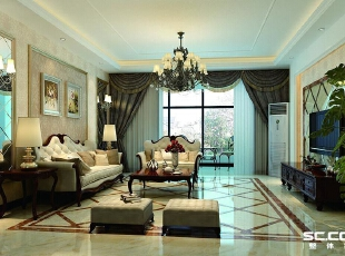 客厅设计: 拥有一个体面优雅的客厅是业主的梦想,开阔空间完全将大宅的风范彰显。客厅空间大,通风良好,采光充足,但如果装饰不当,则会显得空旷。白色的欧式家具典雅华美,一袭质感厚重的窗帘垂挂下来,宛如一出经典的演出即将开幕。地面做成拼花,与背景墙形成统一。,180平,16万,欧式,大户型,