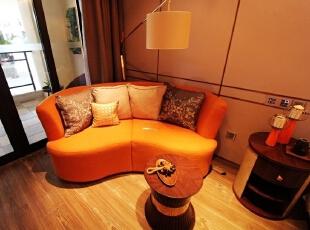 ,53平,7万,一居,现代,客厅,橙色,