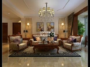 ,119平,4万,欧式,三居,客厅,原木色,