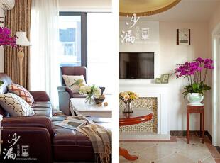 客厅敞亮,天花板上的水晶吊灯和墙壁上贝壳马赛克,呈现出一种质感的简美风格。角落看似随意挂的时钟,又将时间的沉淀之美,不经意地展现出来。,160平,60万,美式,三居,客厅,春色,