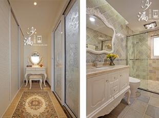 卫生间的设计是很花了一番心思的,浴盆边上加了扶手,地板特意做了防滑处理,透露出浓浓的人情味,也展现了无微不至的细节处理。半开放式的设计,加强了洗手间的功用性。,160平,60万,美式,三居,卫生间,白色,