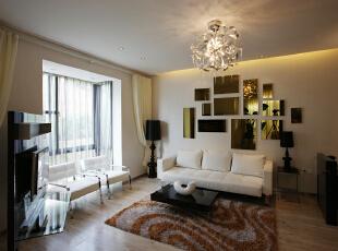 客厅:简单舒适,沙发以弧形的线条让整个空间更加的富有立体感,466平,30万,现代,别墅,卧室,白色,
