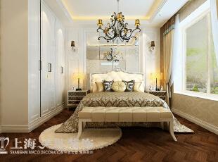 卢浮公馆89平两室两厅简欧风格装修方案——主卧装修效果图,89平,6万,欧式,两居,卧室,黄色,