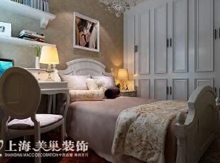 卢浮公馆89平2室2厅简欧风格装修效果图——次卧装修效果图,89平,6万,欧式,两居,卧室,白黄,