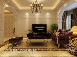 郑州卢浮公馆89平两室两厅简欧风格装修案例——电视背景墙装修效果图,89平,6万,欧式,两居,客厅,黄色,