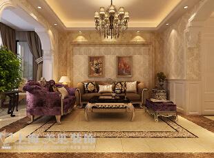 卢浮公馆89平两室两厅简欧风格装修方案——沙发背景墙装修效果图,89平,6万,欧式,两居,客厅,黄色,