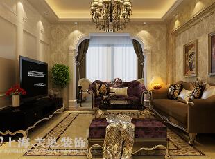 卢浮公馆89平两室两厅简欧风格装修案例——客厅装修效果图,89平,6万,欧式,两居,客厅,黄色,