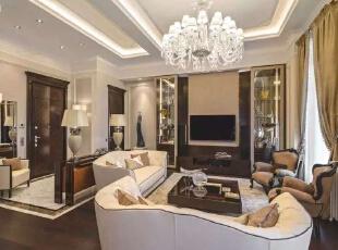 ,154平,25万,新古典,三居,客厅,黑白,