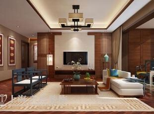 永威五月花城138平三室两厅新中式风格装修方案——客厅装修效果图,138平,6万,中式,三居,客厅,原木色,