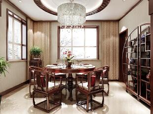 ,200平,16万,中式,四居,餐厅,原木色,