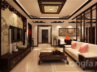 ,143平,5万,中式,三居,客厅,原木色,
