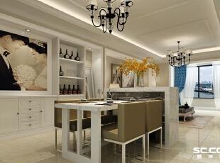 餐厅的设计沿袭了客厅的温馨,欧式的水晶灯配上石材台面的吧台,给主人提供了一个浪漫的空间,对于餐厅我们更注重的则是功能上的使用,在餐厅的一侧设置了白色的酒柜,又充分利用了空间,使餐厅也具有了独立的用餐空间。,100平,6万,欧式,两居,餐厅,白色,