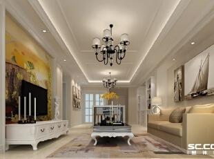 由于女主人特别喜欢白色,所以客厅整体采用白色格调,电视背景墙采用白色混油护墙板配上暖色壁纸,同时搭配欧式套线,打破了以往欧式的庄重奢华感,整体空间显得舒适简洁,更能体现出一种家的温馨感。,100平,6万,欧式,两居,客厅,白色,