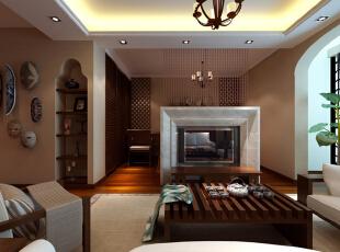 客厅 亲近自然 设计理念:客厅以大气优雅为主,原始自然,在造型上,以对称的木结构为主。亮点:大理石的电视背景墙与珠帘分隔了卧室和客厅,即个性又起到划分空间的作用,整体家具采用褐色木材,突出风格,和米色的地毯、白色的沙发垫相呼应,清新自然。,45平,6万,小资,一居,客厅,原木色,