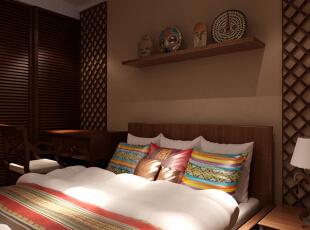 卧室 色彩的碰撞 设计理念:深色的家居和色彩艳丽配饰,丰富了空间,突出了风格。亮点:浓郁的东南亚风格,简洁而不简单,深沉而富有色彩,咖色的墙漆配上木色的家具,配饰上色彩的点缀,使卧室富有灵动气息,45平,6万,小资,一居,卧室,原木色,