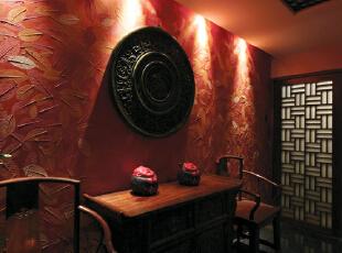 ,119平,22万,三居,中式,客厅,红色,