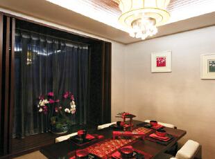 ,119平,19万,中式,三居,餐厅,黑白,