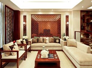 ,280平,60万,中式,四居,客厅,原木色,白色,