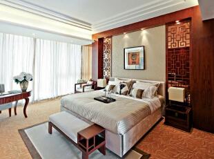 ,280平,60万,中式,四居,卧室,白色,