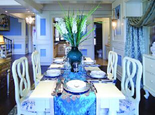 ,200平,30万,新古典,别墅,餐厅,白蓝,