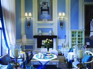 ,200平,30万,新古典,别墅,客厅,白蓝,
