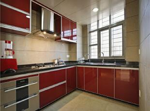 ,123平,15万,中式,三居,厨房,红白,
