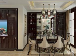 餐厅新中式的餐桌餐椅,配上古朴雅韵的中式吊灯,沉稳中又带有俏丽炫目。地面石材拼花与墙面上的金色镂空雕刻画显得雍容华贵。造型简洁的酒柜中间配以银镜,上面镶嵌一幅抽象山水画,让空间氛围独有一种精致和轻巧。,170平,16万,新古典,三居,