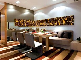 紫禁尚品国际装饰——餐厅 深浅的条纹 浅灰色的餐椅 简约 时尚,140平,33万,简约,跃层,餐厅,黑白,黄色,红色,原木色,