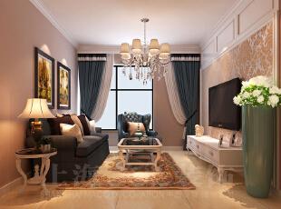 天骄华庭78平两室一厅田园风格装修案例-沙发墙效果图,78平,3万,田园,两居,客厅,黄白,