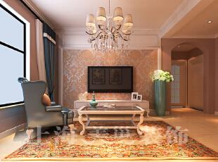 天骄华庭78平两室一厅田园风格装修样板间-电视墙效果图,78平,3万,田园,两居,客厅,黄白,
