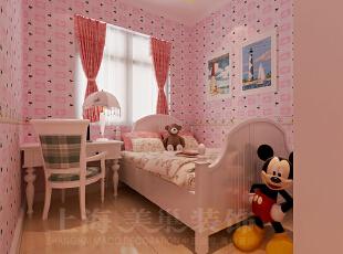 天骄华庭78平两室一厅田园风格装修效果图-卧室效果图,78平,3万,田园,两居,卧室,粉红色,