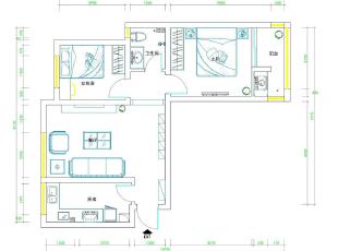 天骄华庭78平两室一厅田园风格装修效果图-平面设计方案,78平,3万,田园,两居,